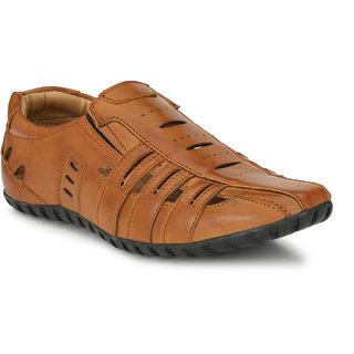 El Paso Men's Tan Artificial Leather Slip On Comfort Casual Sandals