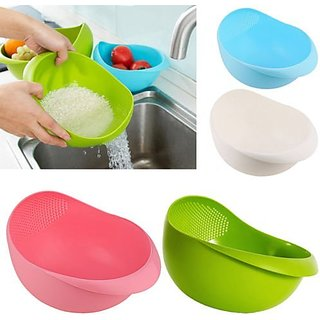Rice Pulses Fruits Vegetable Noodles Pasta Washing Bowl Strainer (1 Piece)