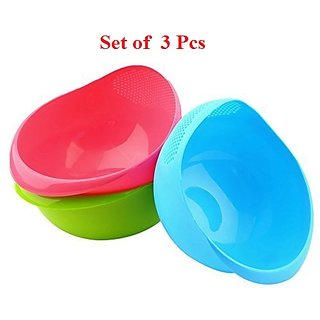 Rice Pulses Fruits Vegetable Noodles Pasta Washing Bowl Strainer (3 Piece)