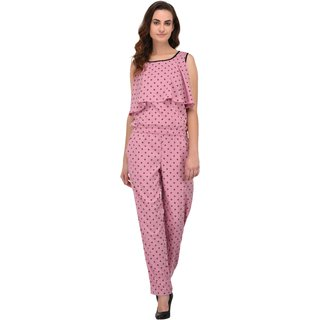 2c798e23066a Buy Fashion meee crepe Pink/black printed flair sleeveless jumpsuit ...