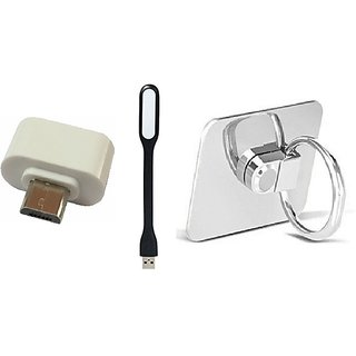 Combo Of Mobile Phone Ring(Stand), USB Led Light and OTG Adopter (Assorted Colors)