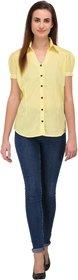Fashion Meee Cotton plain Cream Vneck Puff Sleeve Regular Fitted Shirt