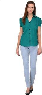 Fashion Meee Cotton plain Cyan Vneck Puff Sleeve Regular Fitted Shirt