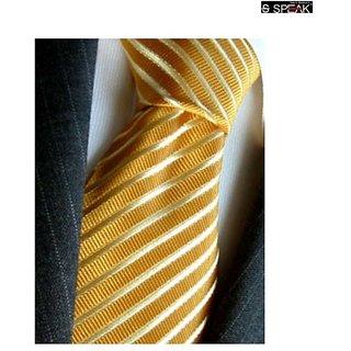 SPEAK Natural Silk Hand-Made Golden Stripes Tie