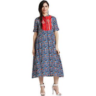 9dae62f70f3ab Buy Jaipur Kurti Women S Multicolor Muslin Dress . Online   ₹2099 ...