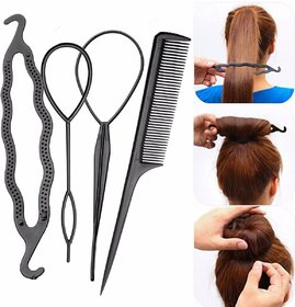 women hair accessories 4pcs bun maker tool kit (black)