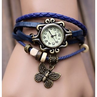 Vintage Fashion leather Bracelet women watch-Blue