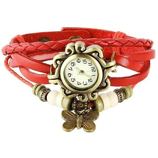 HK Red Vintage Butterfly Watch - For Women