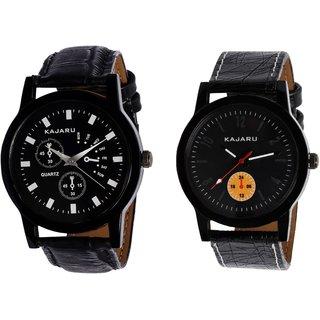 Kajaru KJR-9,2 Round Black Dial Analog Watch Combo for Men