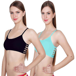 f37991a80634a Buy Hothy Women s Black   Turquoise Bralette Padded Bra (Set Of 2 ...