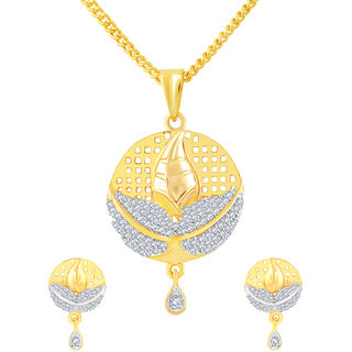 MJ Smoky CZ Gold Plated Pendant Set For Women