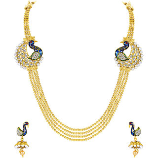 MJ Studded Gold Plated Necklace Set For Women
