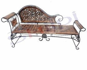 Shilpi Wooden  Wrought Iron Living Room Easable Dewan / Beautiful Amazing Garden Foldable Sofa Bench