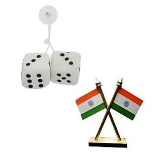 Combo of 2 in 1 Hanging Dice Perfume Air Freshner With Car Dashboard Indian Flag