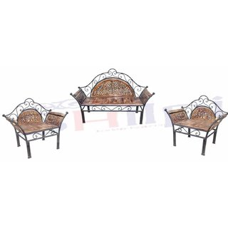 Buy Shilpi Wooden Iron Fancy Design Sofa Set Of 3 Pcs Traditional