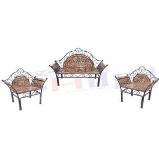 Enjoyable Shilpi Wooden Iron Fancy Design Sofa Set Of 3 Pcs Traditional Design For Living Room Garden Decor Wooden Sofa Set Download Free Architecture Designs Photstoregrimeyleaguecom