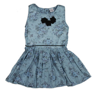 Pikaboo Blue Girls Dress with flower bow at neck & waist belt rope (2-3 Years)