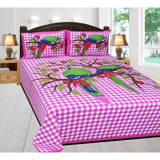 Amayra Cotton King Size Rajasthani Double Bed Sheet with 2 Pillow Cover, 100 X 100 Inch ( Pink Parrot )