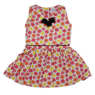 Pikaboo Floral Girls Dress with flower bow at neck & waist belt rope (2-3 Years)