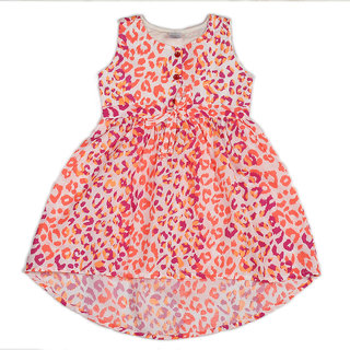 Pikaboo White base flourscent printed woven hi-low dress for girl (2-3 Years)