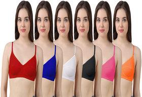 Hothy Women's Red, Blue, White, Black, Mustard, Orange Bra (Set Of 6)