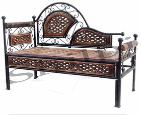 Shilpi Amazing Wroght Iron Wooden Dewan ,Seater Sofa / Solid Wood Beautiful Hand Carving Garden Sofa Seating Bench