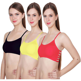 Hothy 6Straps Red Yellow & Black Bralette Bra (Set Of 3)