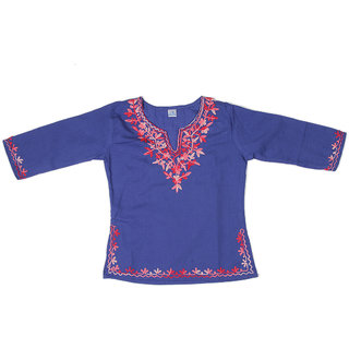 Pikaboo Blue Full Sleeves Kurti with Pink Embroidery for Girls (6-12 Months )