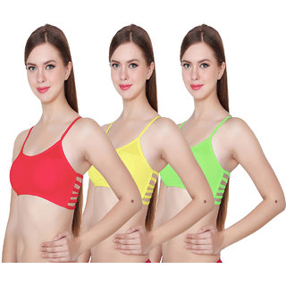 Hothy 6Straps Red Yellow & Green Bralette Bra (Set Of 3)