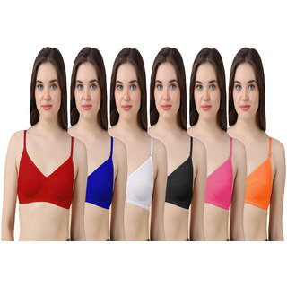 Hothy Women's Red, Blue, White, Black, Mustard, Orange Bra (Set Of 6)