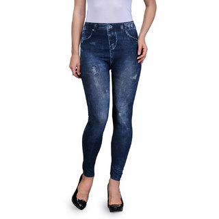 Oleva Blue Cross Denim Look Jegging