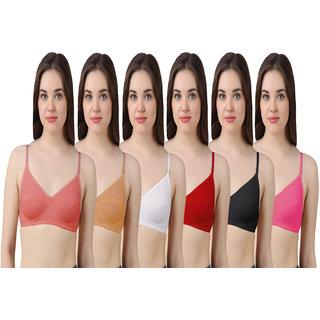 Hothy Women's Pink, Beige, White, Red, Black, Mustard Bra (Set Of 6)
