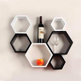 sunshiewood 6 pice shelf haxagon wall shelf home decor unit - 6 blackwhite