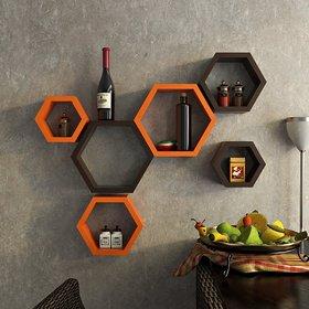 sunshine homeliving decor 6 wall utlity shelf haxagon black  orange -6
