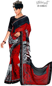 Vaishali georgette red Printed Saree with Blouse