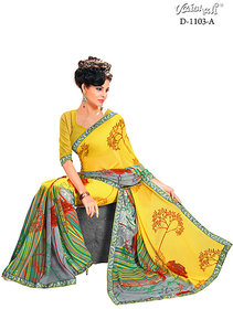 Vaishali georgette yellow Printed Saree with Blouse