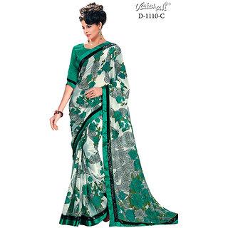 Vaishali chiffon green Printed Saree with Blouse