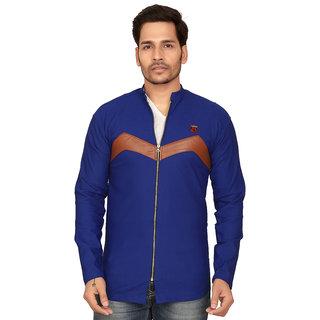 Abc Garments Royall Blue Casual Full Zip Shirts For Mens