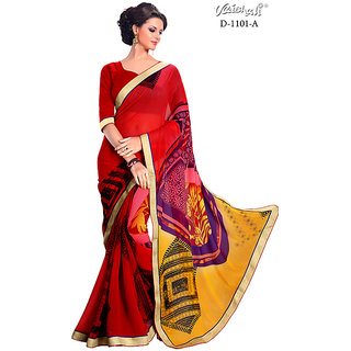 Vaishali Chiffon Red Printed Saree with Blouse