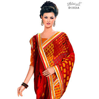 Vaishali georgette red colour Printed Saree with Blouse