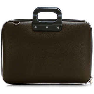 Deal Bugs Stylish  Unisex Hard Shell Briefcase Laptop Bag 15 with Strap, Brown