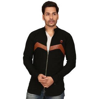 Abc Garments Black Casual Full Zip Shirts For Mens