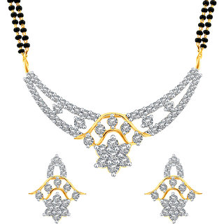 MJ Studded CZ Gold Plated Mangalsutra Set For Women