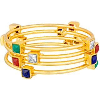 Shostopper Gold Plated Traditional Stone Studded Designer Bangles Set for Women Pack Of 4