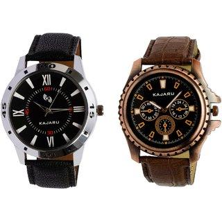 Kajaru KJR-10,1 Round Black Dial Analog Watch Combo for Men
