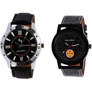 Kajaru KJR-10,2 Round Black Dial Analog Watch Combo for Men
