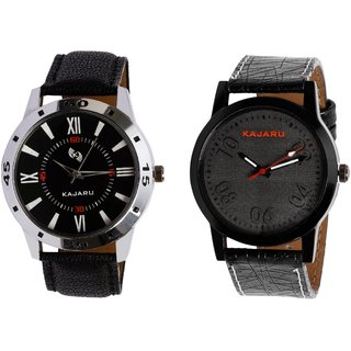 Kajaru KJR-10,3 Round Black Dial Analog Watch Combo for Men