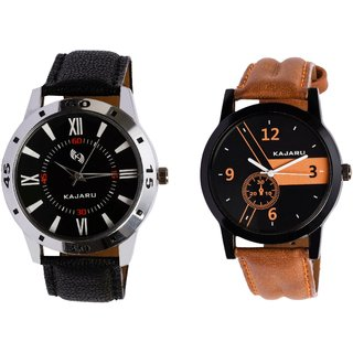 Kajaru KJR-10,4 Round Black Dial Analog Watch Combo for Men