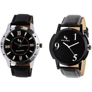Kajaru KJR-10,5 Round Black Dial Analog Watch Combo for Men