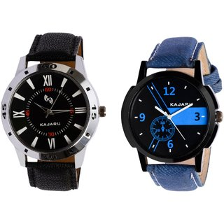 Kajaru KJR-10,6 Round Black And Blue Dial Analog Watch Combo for Men